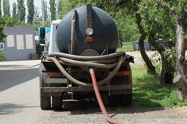 Sewage Holding Truck During Septic System Pumping Service